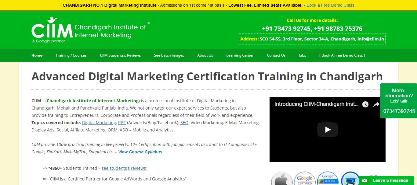 Advanced digital marketing course institutes in chandigarh