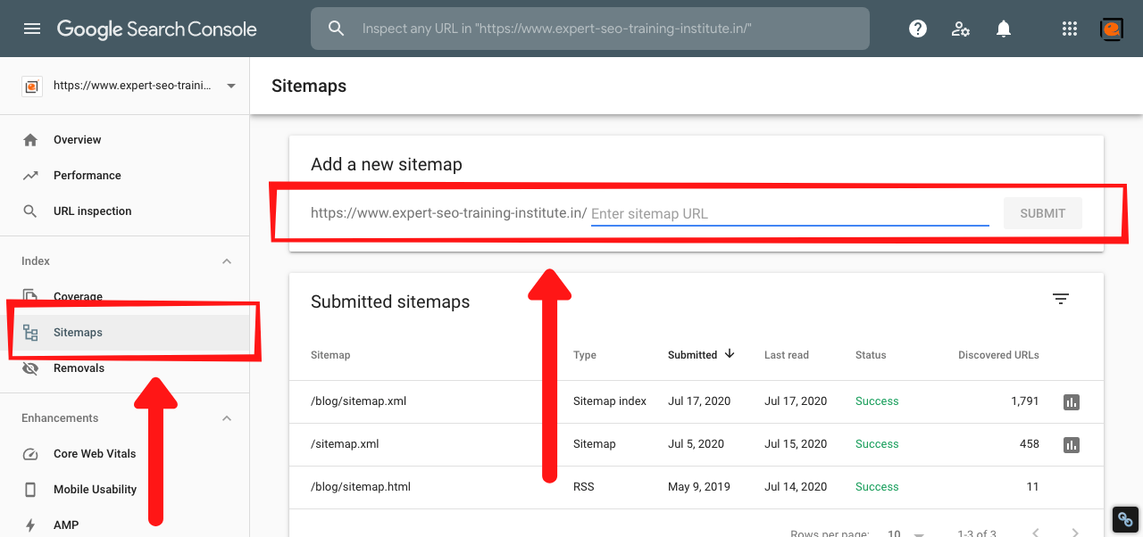 webmaster tool Sitemap
