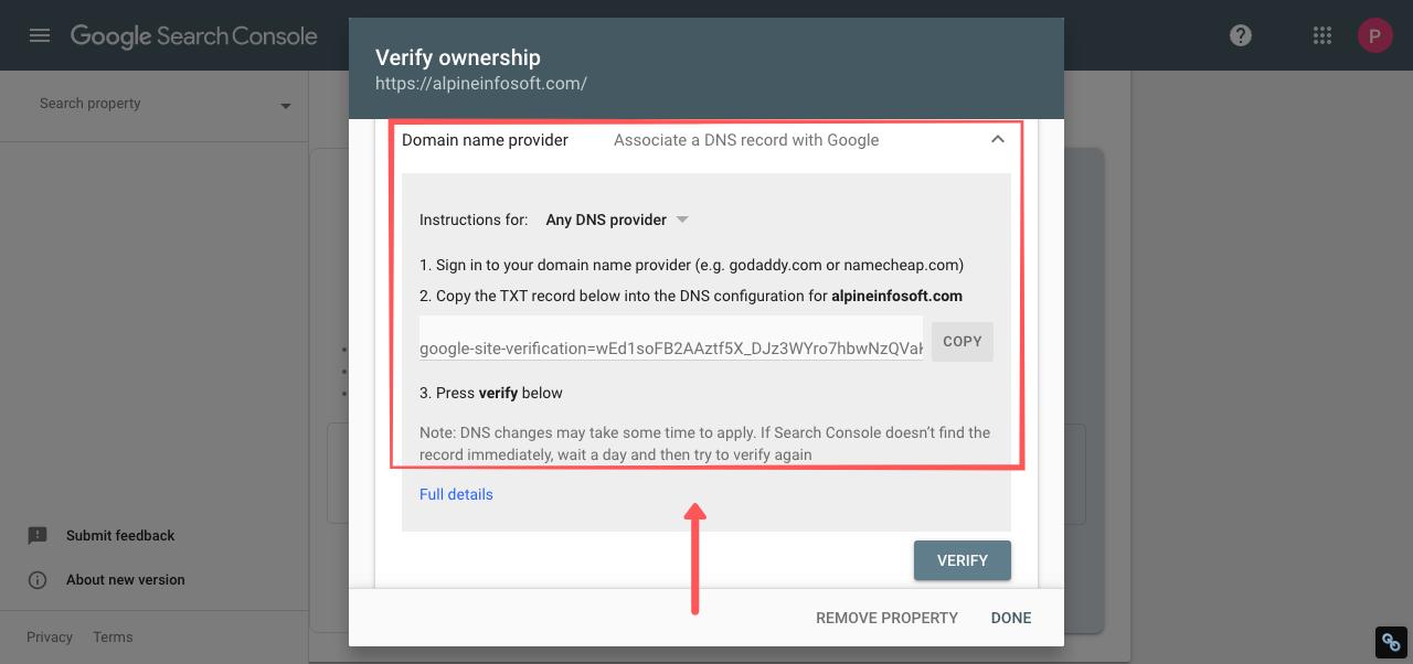 webmaster tools domain name provider