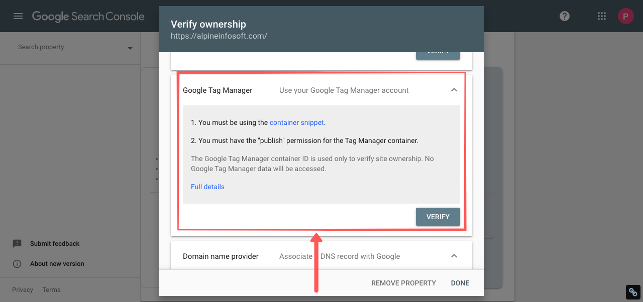 webmaster tools google tag manager